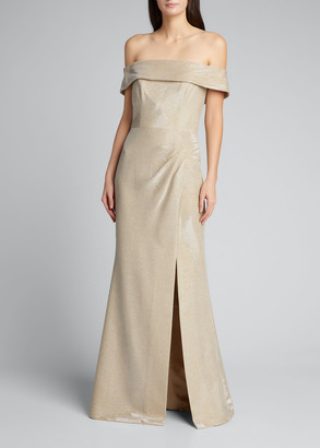 Rickie Freeman For Teri Jon Cuffed Off-the-Shoulder Metallic Jacquard Gown
