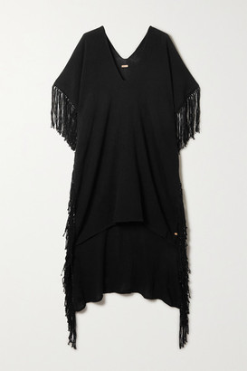 CARAVANA Net Sustain Bubtub Fringed Cotton-gauze Kaftan - Black