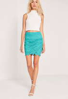 Missguided Lace Mini Skirt Green