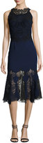 Jonathan Simkhai Thread Mesh Window Lace Trumpet Midi Dress