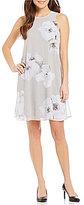 Calvin Klein Petite Floral-Print Chiffon Trapeze Dress