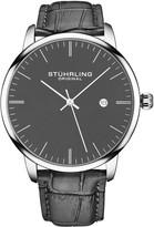 Stuhrling Original Men's Rasa Gray Leather Band Watch