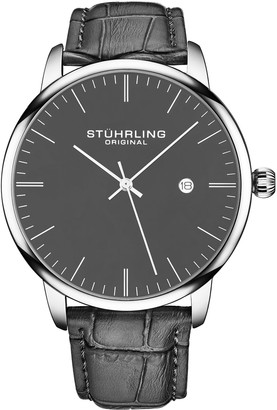 Stuhrling Original Men's Rasa Gray Leather Band Watch