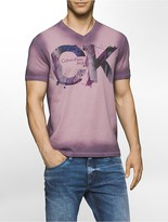 Calvin Klein Slim Fit Painted Logo V-Neck T-Shirt