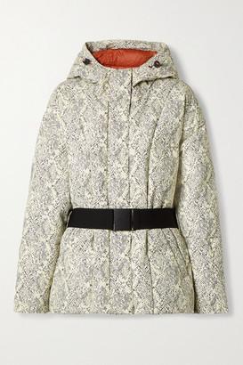 Varley Dowlen Hooded Printed Quilted Down Ski Jacket - Ivory