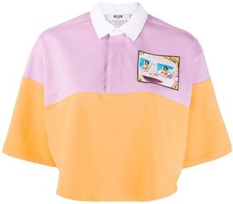 MSGM Colour-Block Cropped Polo Shirt