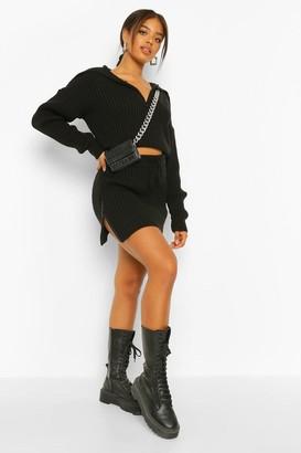 boohoo Double Zip Rib Knitted Mini Skirt