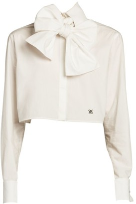 Fendi Bow-Detail Monogrammed Crop Blouse
