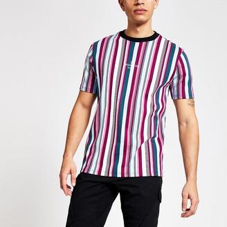 River Island Maison Riviera pink stripe slim fit T-shirt
