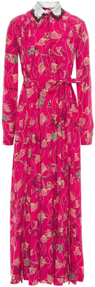 Valentino Satin-trimmed Pintucked Floral-print Silk Crepe De Chine Maxi Dress