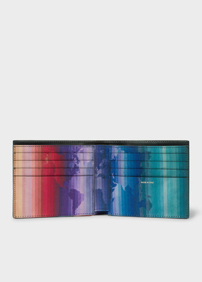 Paul Smith Men's Black Leather 'Rainbow Map' Print Interior Billfold Wallet