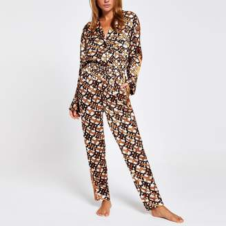 River Island Womens Brown RI print satin pyjama jumpsuit
