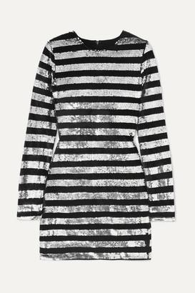 RtA Crystal Striped Sequined Velvet Mini Dress - Silver