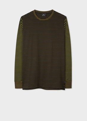 Paul Smith Men's Green Organic Cotton Stripe Long-Sleeve T-Shirt
