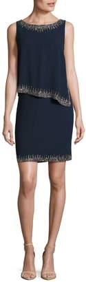 J Kara Sleeveless Bead Trim Popover Dress