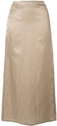 Sulvam Embroidered Straight Skirt
