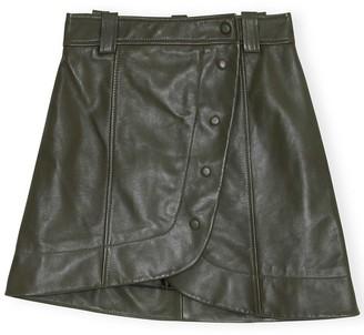 Ganni Lamb Leather Mini Skirt in Kalamata