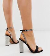 Asos Design DESIGN Wide Fit Hot Step embellished block heeled sandals in black