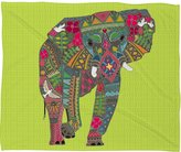 DENY Designs 60 by 50-Inch Sharon Turner Painted Elephant Chartreuse Fleece Throw Blanket