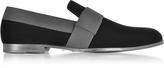 Jimmy Choo John Black Velvet and Grosgrain Slipper Shoes