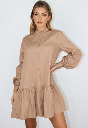 Missguided Camel Oversized Grandad Shirt Smock Dress