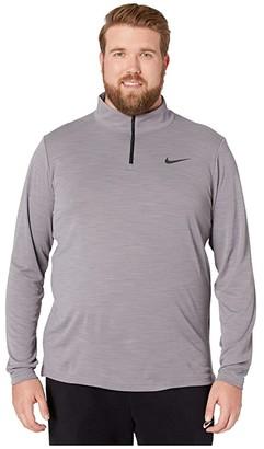 Nike Big Tall Superset Top Long Sleeve 1/4 Zip (Gunsmoke/Black) Men's Clothing