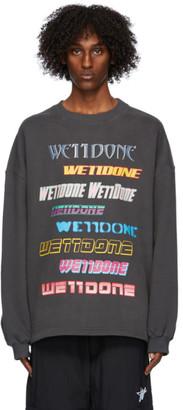 we11done Grey Fleece Logo Sweatshirt