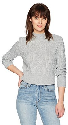 EVIDNT Women's Cable Knit Mock Sweater