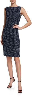 St. John Two-Toned Float-Knit Bateau-Neck Dress