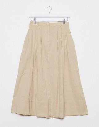 Pieces poplin midi skirt in beige