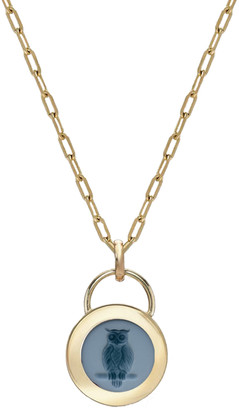 Retrouvai Owl Small Green Agate Padlock Intaglio Necklace - Yellow Gold