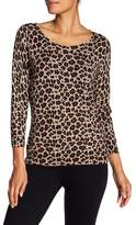 Premise Studio 3/4 Sleeve Leopard Print Pullover Top