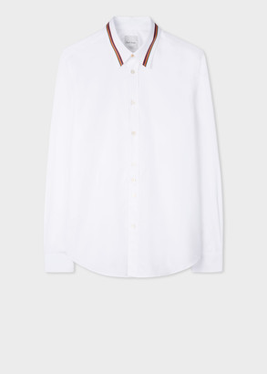 Paul Smith Men's Slim-Fit White Cotton Shirt With 'Artist Stripe' Collar Detail