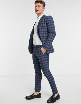 Topman check skinny suit pants in blue