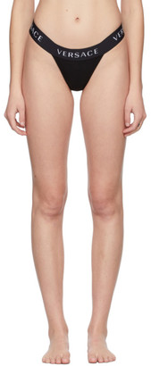 Versace Underwear Black Logo Thong