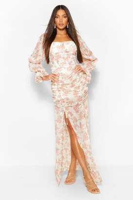 boohoo Tall Floral Ruched Front Split Leg Woven Maxi Dress