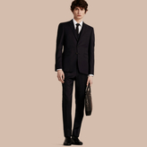 Burberry Slim Fit Wool Part-canvas Three-piece Suit