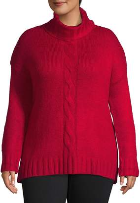 Lord & Taylor Plus Ribbed Turtleneck Cable Knit Sweater