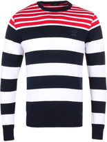 Paul & Shark Navy & Red Stripe Shark Fit Jumper
