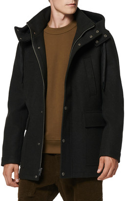 Andrew Marc Men's Newport Hooded Stretch Wool Coat w/ Removable Shearling