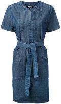 A.P.C. tie waist tunic dress - women - Cotton - 34