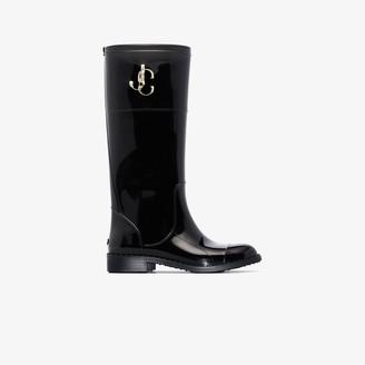 Jimmy Choo black Edith knee-high rain boots