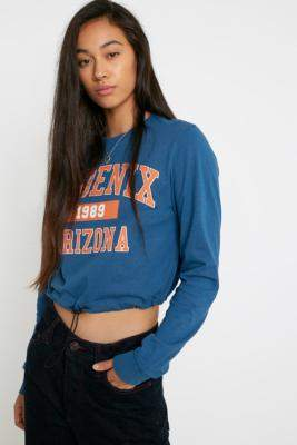 Urban Outfitters Phoenix Long-Sleeve Bubble Hem T-Shirt - blue XS at