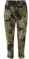 Dorothy Perkins Womens Petite Palm Print Joggers- Black