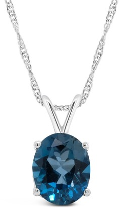 14K Gold Oval 3.20 cttw London Blue Topaz Pendant with Chain