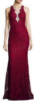 Jovani Deep V-Neck Lace Mermaid Gown, Burgundy