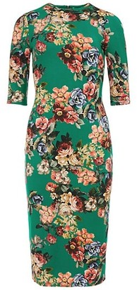 Alice + Olivia Delora Mockneck Floral Bodycon Dress