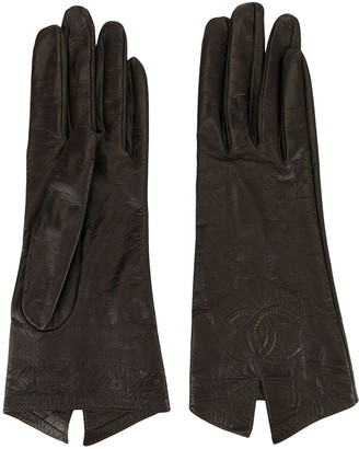 Chanel Pre Owned stitched interlocking CC gloves