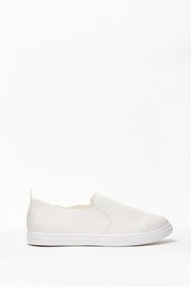 Nasty Gal Womens Perforated Slip On Sneakers - White