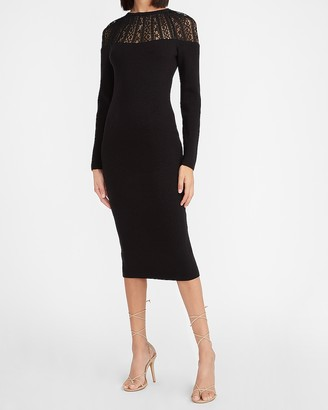 Express Lace Pieced Sweater Dress